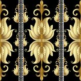 Striped Floral Gold Meander Seamless Pattern With Gold 3d Flowers