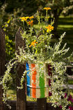 Striped flower pot Stock Photo