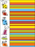 Striped funny background with gifts. Bright striped background for holidays Stock Photography