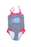Striped fused kids swimsuit.  on white. Stock Photos