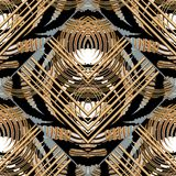 Striped geometric abstract seamless pattern Royalty Free Stock Image