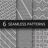 Striped geometric vector seamless patterns set. Kinetic art endless wallpapers. Illustration of geometric monochrome texture collection Stock Images