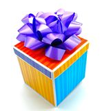 Colorful Striped Birthday Gift Isolated. A colorful striped gift box with a purple ribbon for a special occasion isolated on white background Royalty Free Stock Photography