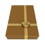 Striped gift box, red and green, isolated on white. With clipping path, 3d illustration Royalty Free Stock Photography