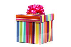 Striped Giftbox. Photo of a Colorful Striped Giftbox royalty free stock photography