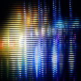 Striped glitter background with glitch effect. Yellow-blue striped glitter background with glitch effect. Colorful bright mosaic horizontal strips on black stock illustration