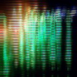 Striped glitter background with glitch effect. Yellow-green striped glitter background with glitch effect. Colorful bright mosaic horizontal strips on black royalty free illustration