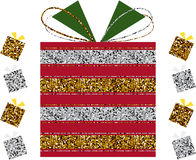 Striped Glitter Christmas Gift Box Stock Photography