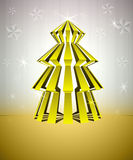 Striped gold christmas tree with stars. Striped gold dimensional christmas tree with stars glitter vector card vector illustration