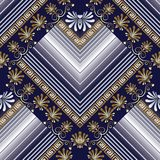 Striped greek 3d vector seamless pattern. Abstract geometric pat. Terned dark blue background with white stripes, rhombus, zigzag, gold greek key, meander Royalty Free Stock Photography