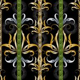 Striped greek key meanders floral 3d seamless pattern. Vector or. Nate decorative vintage background. Greek vertical borders. Antique style gold silver flowers stock illustration