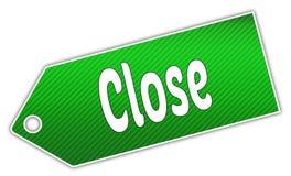 Striped green CLOSE label. Stock Photo