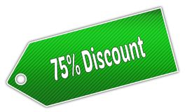 Striped green 75 PERCENT DISCOUNT label. Royalty Free Stock Images