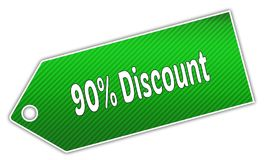 Striped green 90 PERCENT DISCOUNT label. Royalty Free Stock Photography