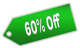 Striped green 60 PERCENT OFF label. Stock Image