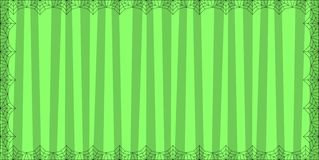 Striped green rectangle background with cute vertical stripes framed with spider cobweb. Vector background, banner, Halloween invitation or greeting card royalty free illustration