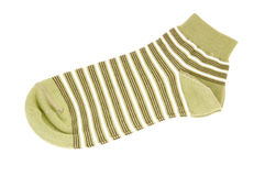 Striped green sock Stock Photos