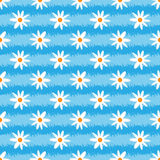 Striped grunge texture with flowers. Brush strokes, abstract daisy. Seamless pattern. Royalty Free Stock Photo