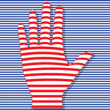 Striped hand on striped background. Is . May be used as showy element in in advertising or Stock Photos