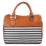 Striped handbag isolated on white background. Stock Images