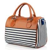 Striped handbag isolated on white background. Royalty Free Stock Photos