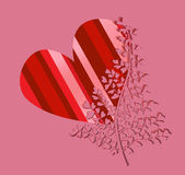 Striped heart with heart tree Royalty Free Stock Images