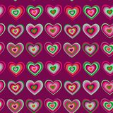 Striped heart on purple background Valentine's day. Wedding seamless pattern. vector Royalty Free Stock Image
