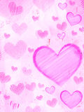 Striped hearts on pink old paper Stock Image