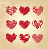 Striped hearts Stock Images