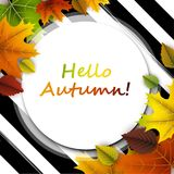 Hello autumn card with colorful leaves. Striped hello autumn card with colorful leaves. Vector illustration Stock Photography