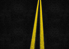 Striped Highway street. Two striped lines dividing street to two parts Royalty Free Stock Photography