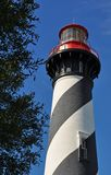 Striped Historic Lighthouse Against Blue Sky Royalty Free Stock Image