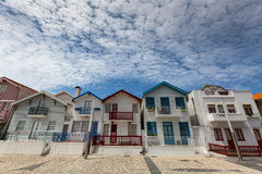 Striped houses in Costa Nova, Portugal. Travel. Royalty Free Stock Photos