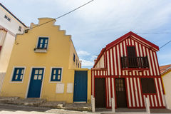 Striped houses in Costa Nova, Portugal. Travel. Royalty Free Stock Image