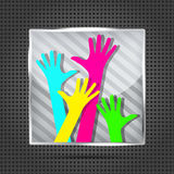 Striped icon with happy hands Royalty Free Stock Photos