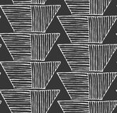 Striped inked rough half hexagon braid on black. Seamless pattern. Hand drawn seamless background Royalty Free Stock Photo