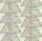 Striped inked rough half hexagon braid on green. Seamless pattern. Hand drawn seamless background Royalty Free Stock Image