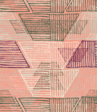 Striped inked rough half hexagons on orange. Seamless pattern. Hand drawn seamless background Royalty Free Stock Image