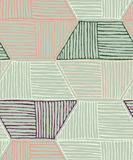 Striped inked rough hexagons on green. Seamless pattern. Hand drawn seamless background Stock Image
