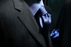 Striped jacket with blue shirt, tie & handkerchief Royalty Free Stock Photo