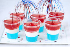Striped jelly shots with firecracker star Royalty Free Stock Image