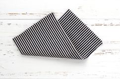 Free Striped Kitchen Cloth On White Vintage Wooden Table. Copy Space Stock Photo - 111087620