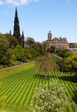 Striped lawn of Princess Gardens. Edinburgh. UK. Stock Photo