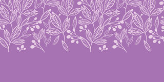 Striped leaves and berries horizontal seamless pattern background Royalty Free Stock Photo