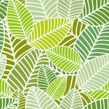 Striped Leaves Seamless Pattern Stock Images