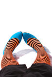 Striped leggings. Young woman with striped leggings Stock Photos