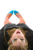 Striped leggings. Young woman with striped leggings Royalty Free Stock Photos