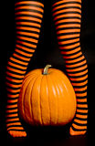 Striped Leggings and a Big Pumpkin Royalty Free Stock Photo