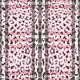 Striped Leopard Fashion Seamless Pattern. Check leopard fashion seamless pattern for animal trandy textile prints, wallpaper, wrapping with fabric imitation Stock Photos