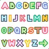 Striped letters alphabet set royalty free illustration